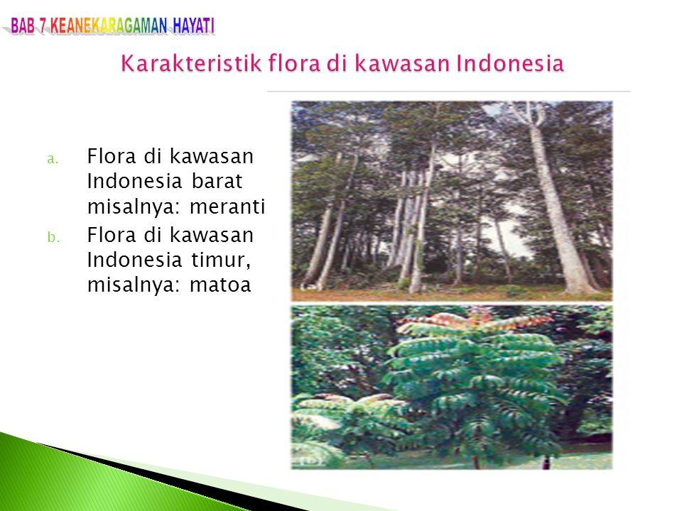 a. Flora di kawasan Indonesia barat misalnya: meranti b. Flora di kawasan Indonesia timur, misalnya: matoa