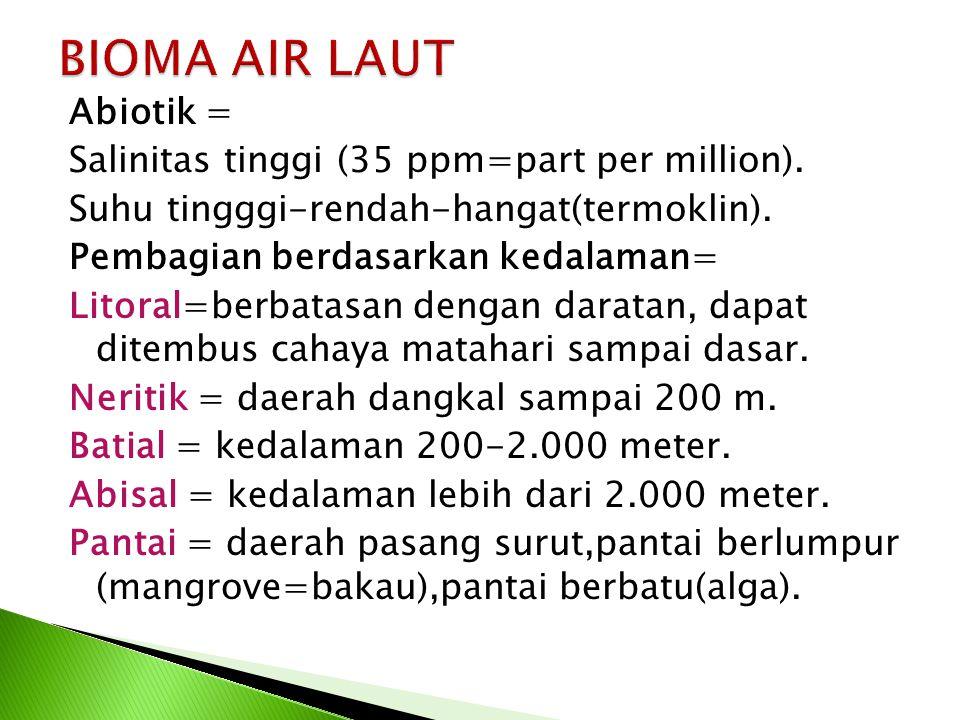 Abiotik = Salinitas tinggi (35 ppm=part per million). Suhu tingggi-rendah-hangat(termoklin). Pembagian berdasarkan kedalaman= Litoral=berbatasan denga