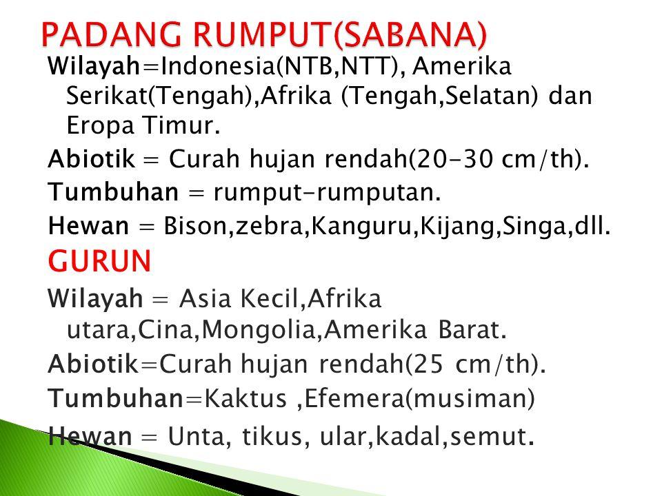Wilayah=Indonesia(NTB,NTT), Amerika Serikat(Tengah),Afrika (Tengah,Selatan) dan Eropa Timur. Abiotik = Curah hujan rendah(20-30 cm/th). Tumbuhan = rum