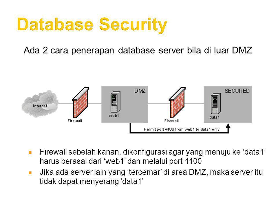 Ada 2 cara penerapan database server bila di luar DMZ Firewall sebelah kanan, dikonfigurasi agar yang menuju ke 'data1' harus berasal dari 'web1' dan