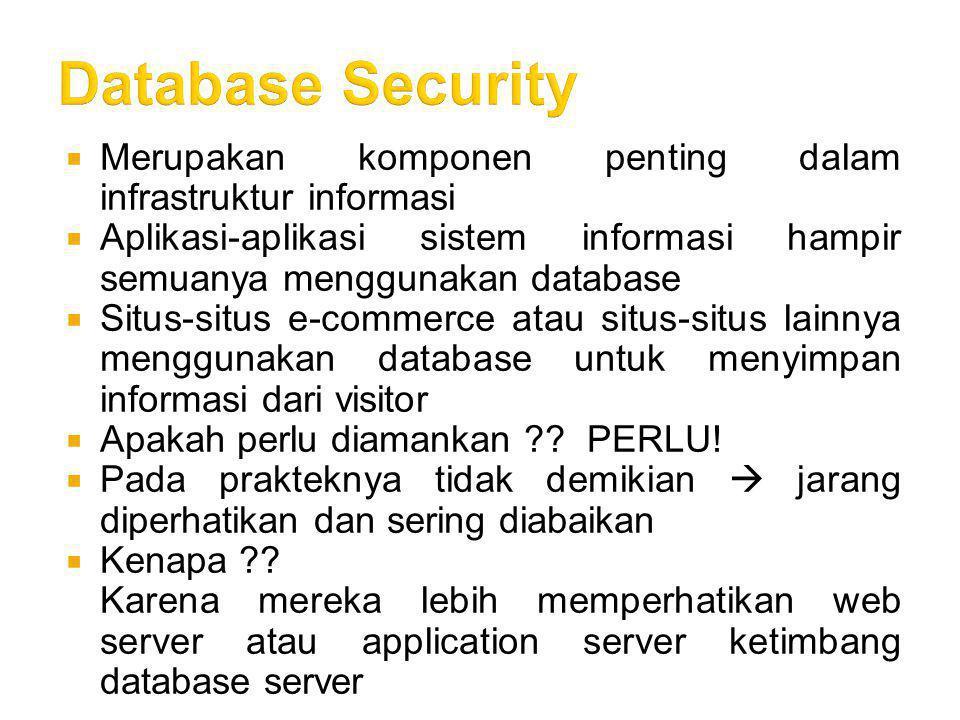 Kesimpulan  Memang benar tidak ada jaringan yang kebal terhadap serangan hacker, namun dengan langkah-langkah pencegahan ini, kita dapat membuat sulit bagi intruder untuk mencuri data baik dari database atau dari lalu lintas data  Membiarkan database server tanpa pengamanan dengan firewall dan enkripsi akan menimbulkan masalah yang besar  Pastikan bahwa web server dan database server sudah dipatch dengan versi yang terakhir  Perlu pendidikan mengenai keamanan administrator jaringan, database administrator dan web programmer  Pastikan bahwa web programmer/ web developmer dan DBA telah melaksanakan tugasnya dengan baik