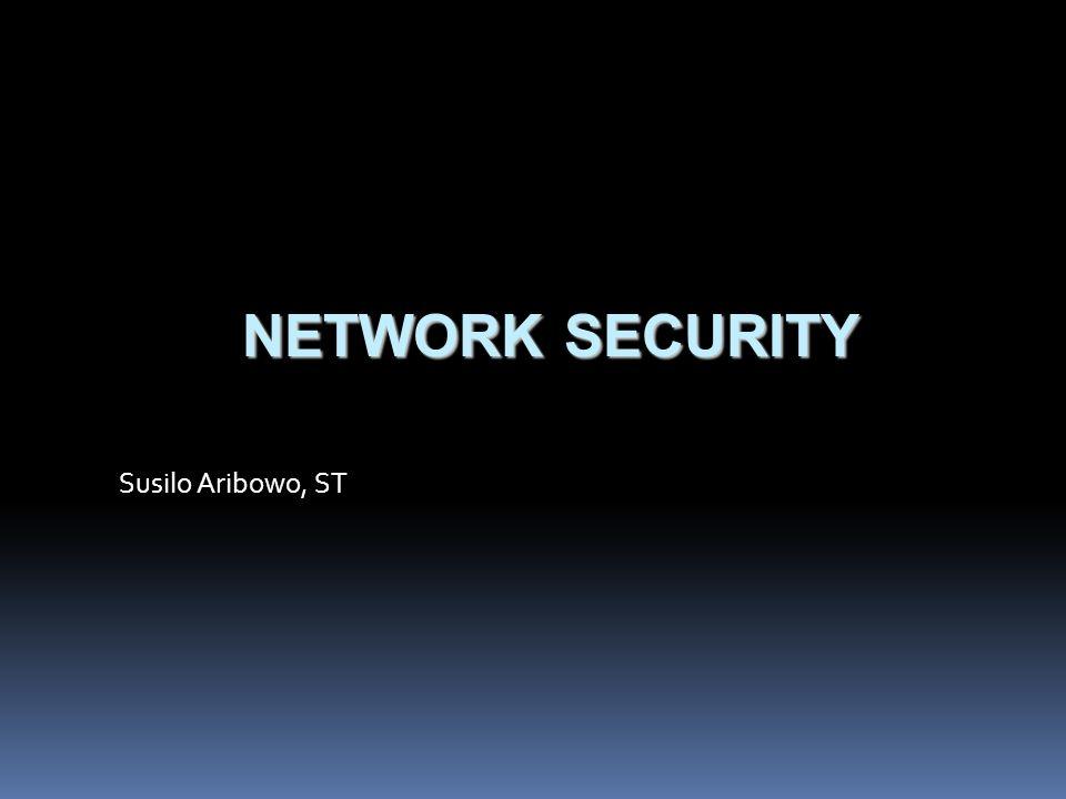 Network Security  Penyerang mengirim paket ping request ke banyak host (secara broadcast)  IP pengirim diubah menjadi IP host yang akan diserang  Berdampak host menjadi terlalu sibuk dan kehabisan sumber daya komputasi, sehingga tidak dapat melayani permintaan lainnya Penanganan Smurf Attack  Tidak melayani permintaan ping request