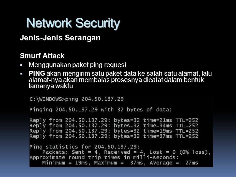 Network Security Jenis-Jenis Serangan Smurf Attack  Menggunakan paket ping request  PING akan mengirim satu paket data ke salah satu alamat, lalu alamat-nya akan membalas prosesnya dicatat dalam bentuk lamanya waktu