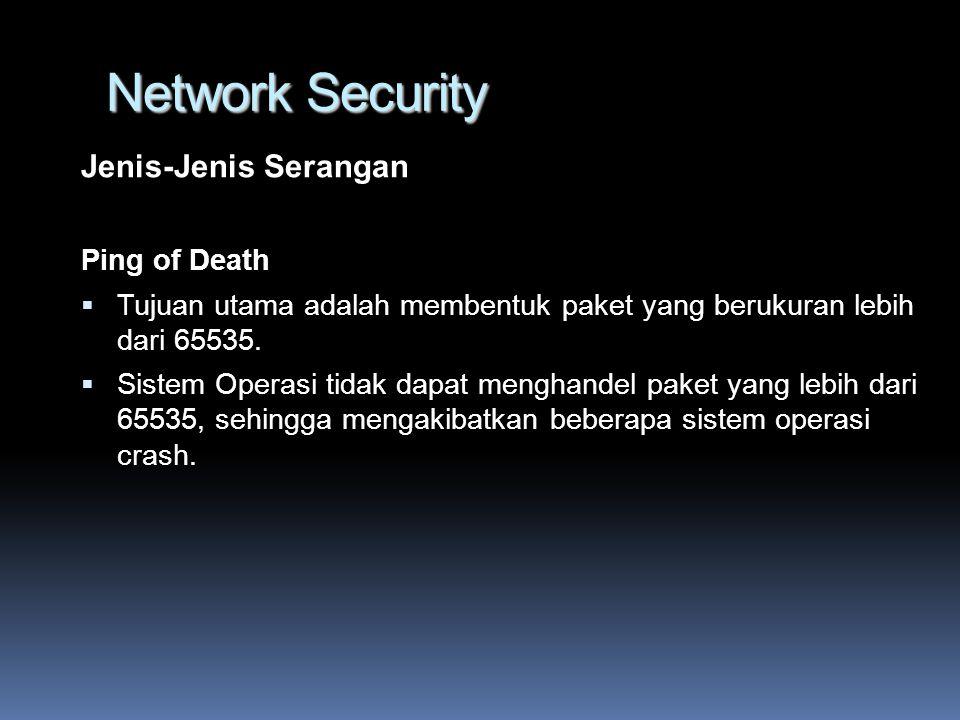 Jenis-Jenis Serangan Ping of Death  Tujuan utama adalah membentuk paket yang berukuran lebih dari 65535.