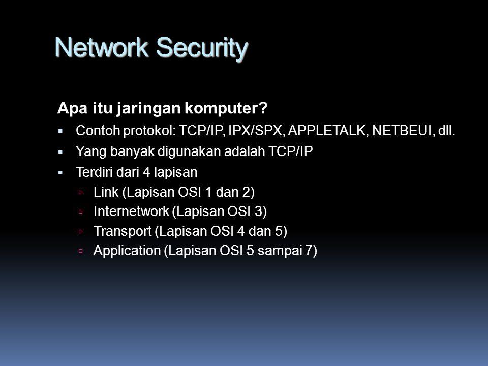 Network Security Proteksi Jaringan Komputer Layer 2  Mac Address Authentication Pengontrolan dilakukan pada switch/hub dan wireless access point  WEP/WPA (Wired Equivalent Privacy/Wi-Fi Protected Access) Data yang dikirim dienkripsi terlebih dahulu Layer 3  Perlindungan dilakukan berdasarkan alamat IP dan Port
