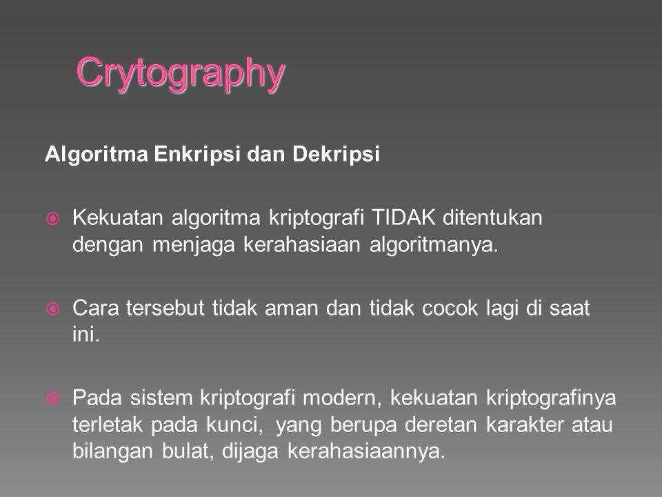 Algoritma Enkripsi dan Dekripsi  Kekuatan algoritma kriptografi TIDAK ditentukan dengan menjaga kerahasiaan algoritmanya.
