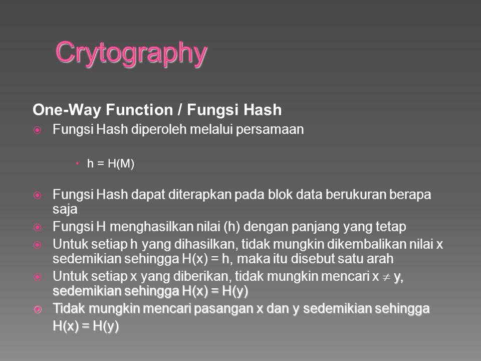 One-Way Function / Fungsi Hash  Fungsi Hash diperoleh melalui persamaan  h = H(M)  Fungsi Hash dapat diterapkan pada blok data berukuran berapa saja  Fungsi H menghasilkan nilai (h) dengan panjang yang tetap  Untuk setiap h yang dihasilkan, tidak mungkin dikembalikan nilai x sedemikian sehingga H(x) = h, maka itu disebut satu arah y, sedemikian sehingga H(x) = H(y)  Untuk setiap x yang diberikan, tidak mungkin mencari x  y, sedemikian sehingga H(x) = H(y)  Tidak mungkin mencari pasangan x dan y sedemikian sehingga H(x) = H(y)