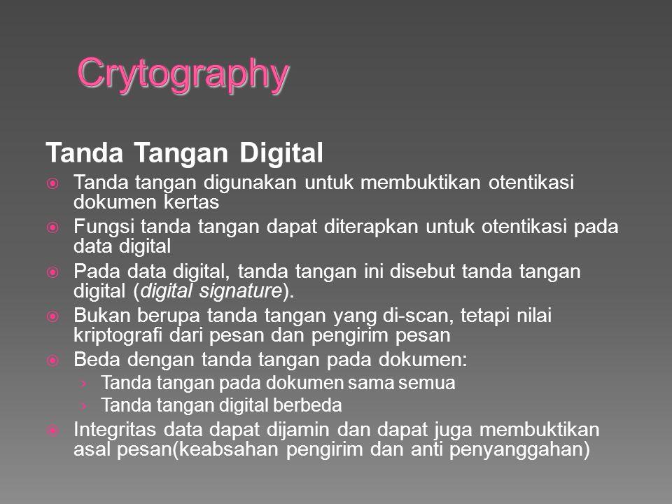 Tanda Tangan Digital  Tanda tangan digunakan untuk membuktikan otentikasi dokumen kertas  Fungsi tanda tangan dapat diterapkan untuk otentikasi pada data digital  Pada data digital, tanda tangan ini disebut tanda tangan digital (digital signature).