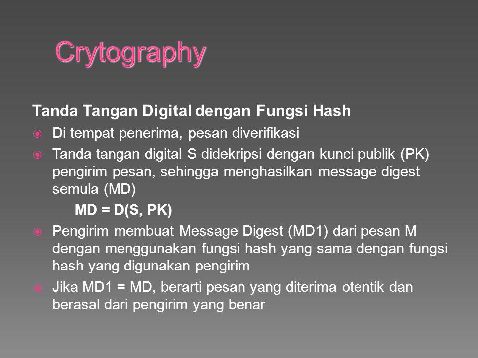 Tanda Tangan Digital dengan Fungsi Hash  Di tempat penerima, pesan diverifikasi  Tanda tangan digital S didekripsi dengan kunci publik (PK) pengirim pesan, sehingga menghasilkan message digest semula (MD) MD = D(S, PK)  Pengirim membuat Message Digest (MD1) dari pesan M dengan menggunakan fungsi hash yang sama dengan fungsi hash yang digunakan pengirim  Jika MD1 = MD, berarti pesan yang diterima otentik dan berasal dari pengirim yang benar