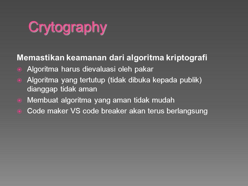 Memastikan keamanan dari algoritma kriptografi  Algoritma harus dievaluasi oleh pakar  Algoritma yang tertutup (tidak dibuka kepada publik) dianggap tidak aman  Membuat algoritma yang aman tidak mudah  Code maker VS code breaker akan terus berlangsung