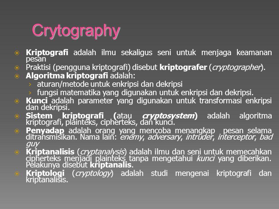  Kriptografi adalah ilmu sekaligus seni untuk menjaga keamanan pesan  Praktisi (pengguna kriptografi) disebut kriptografer (cryptographer).
