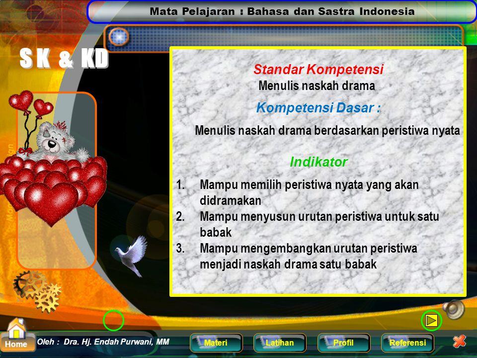 Mata Pelajaran : Bahasa dan Sastra Indonesia MateriLatihanProfilReferensi Oleh : Dra. Hj. Endah Purwani, MM Home