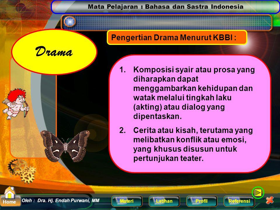 Mata Pelajaran : Bahasa dan Sastra Indonesia MateriLatihanProfilReferensi Oleh : Dra. Hj. Endah Purwani, MM Home Pengertian Drama