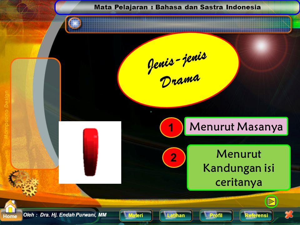 Mata Pelajaran : Bahasa dan Sastra Indonesia MateriLatihanProfilReferensi Oleh : Dra. Hj. Endah Purwani, MM Home Drama Itulah sebabnya mengapa saat ka