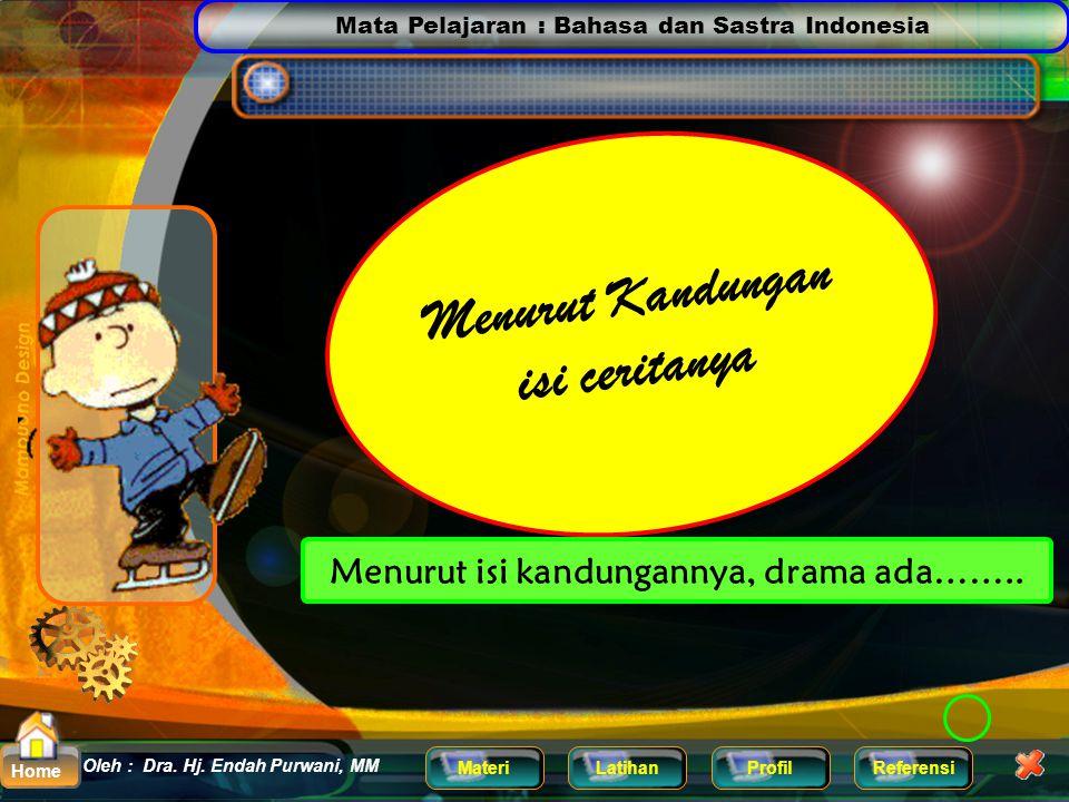 Mata Pelajaran : Bahasa dan Sastra Indonesia MateriLatihanProfilReferensi Oleh : Dra. Hj. Endah Purwani, MM Home  lenong (pertunjukan sandiwara denga