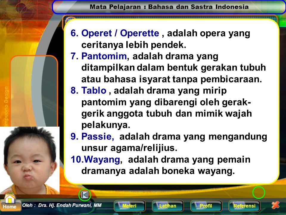 Mata Pelajaran : Bahasa dan Sastra Indonesia MateriLatihanProfilReferensi Oleh : Dra. Hj. Endah Purwani, MM Home 1.Drama Komedi, adalah drama yang luc