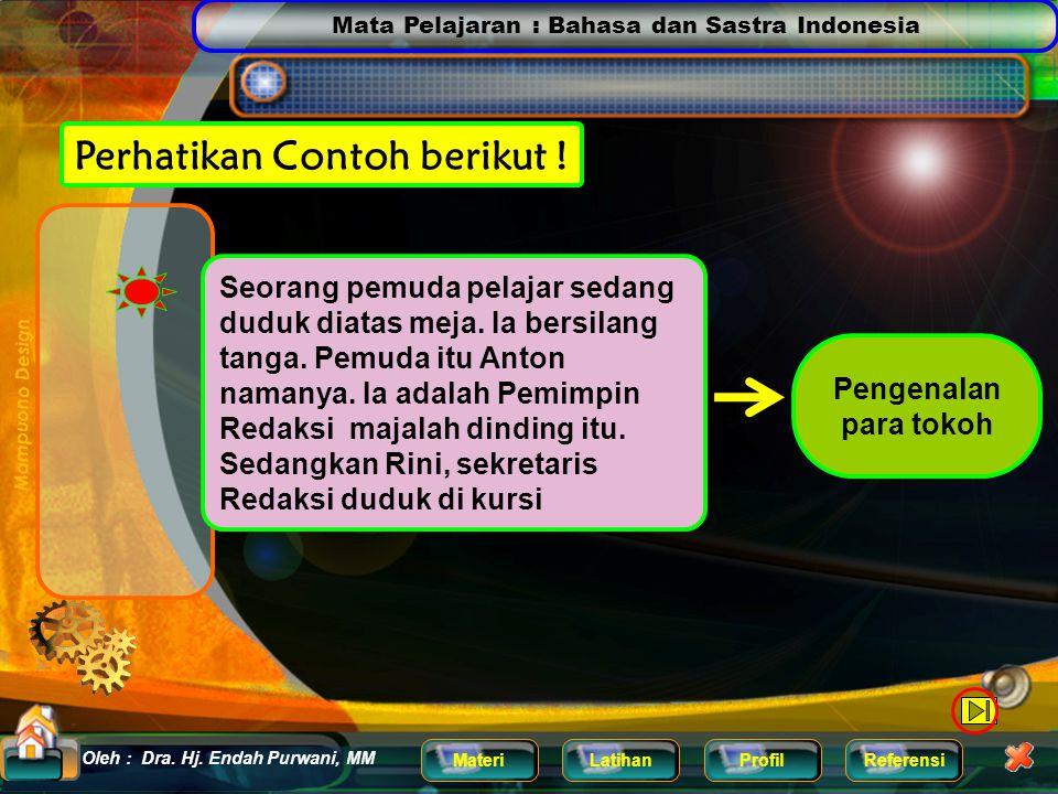 Mata Pelajaran : Bahasa dan Sastra Indonesia MateriLatihanProfilReferensi Oleh : Dra. Hj. Endah Purwani, MM Home Perhatikan Contoh berikut ! Pentas me