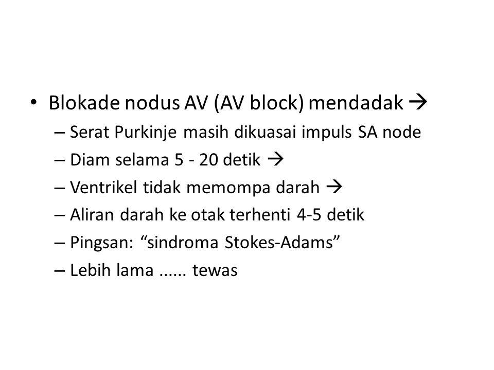 Blokade nodus AV (AV block) mendadak  – Serat Purkinje masih dikuasai impuls SA node – Diam selama 5 - 20 detik  – Ventrikel tidak memompa darah  –