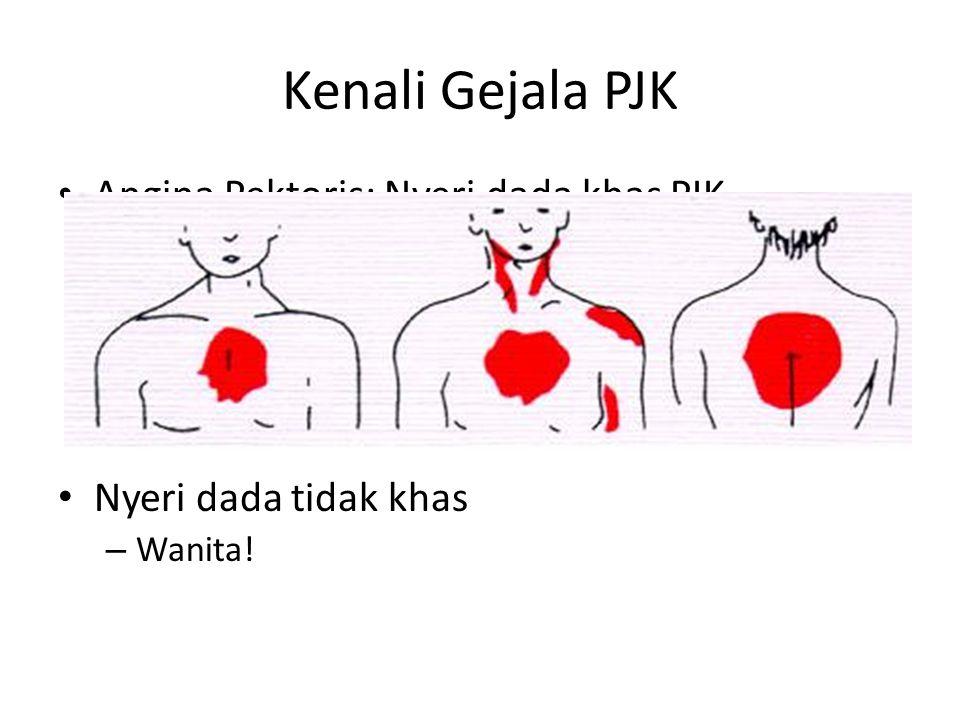 Kenali Gejala PJK Angina Pektoris: Nyeri dada khas PJK – Bagian tengah dada – Penjalaran nyeri – Hubungan dengan aktifitas – Gejala penyerta: keringat