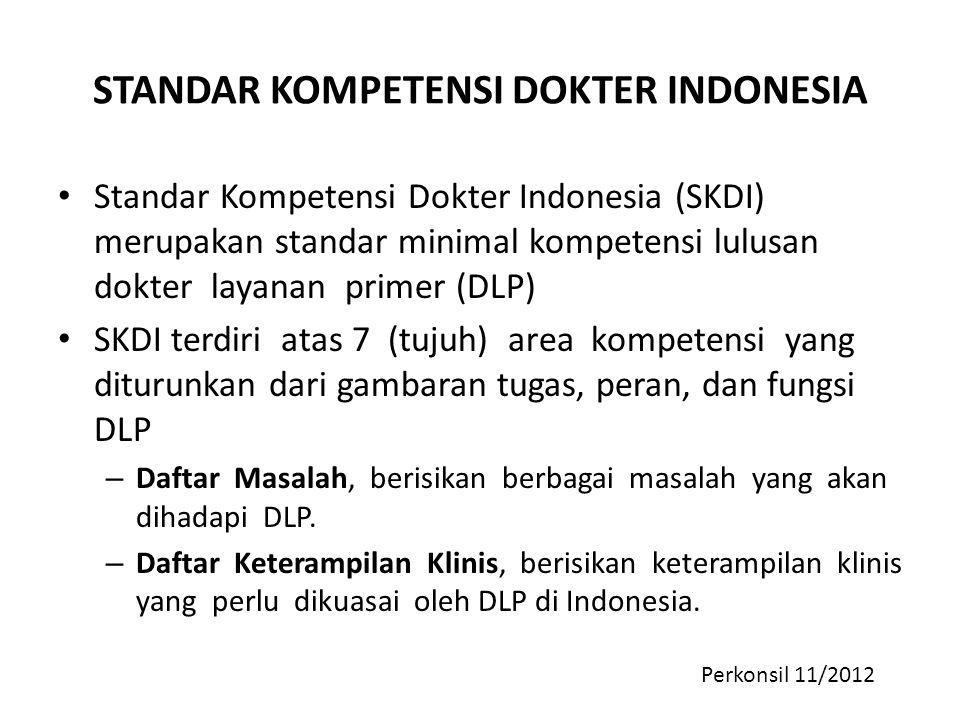 STANDAR KOMPETENSI DOKTER INDONESIA Standar Kompetensi Dokter Indonesia (SKDI) merupakan standar minimal kompetensi lulusan dokter layanan primer (DLP
