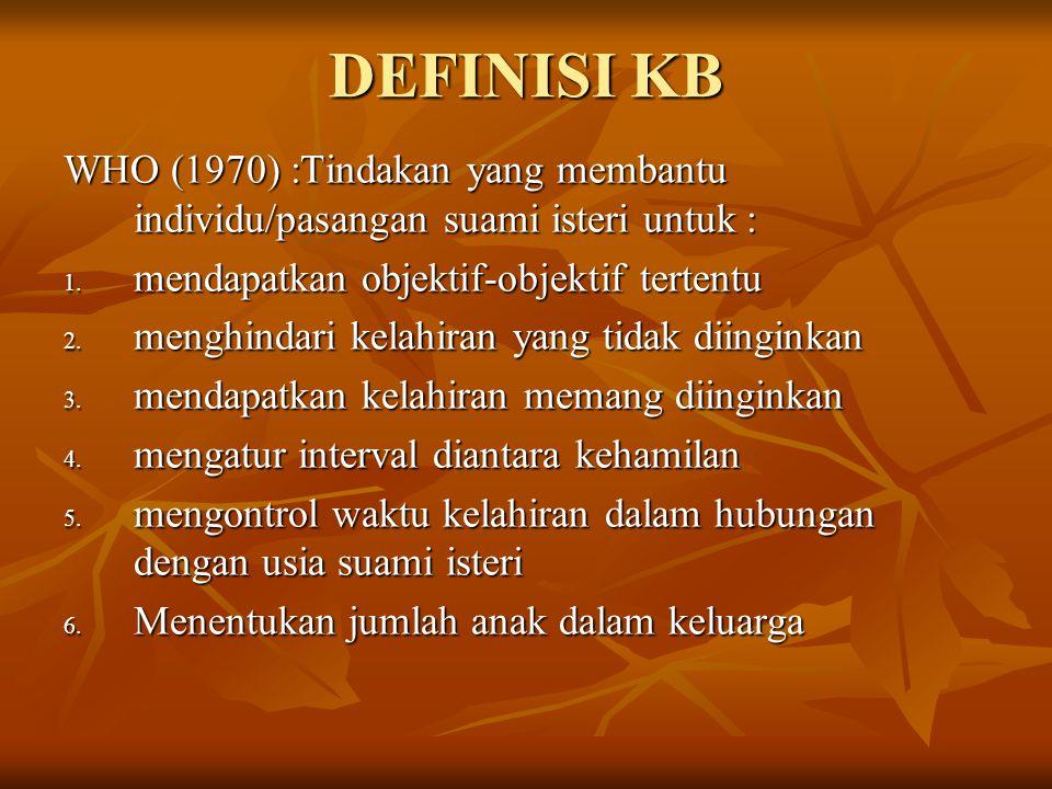 DEFINISI KB WHO (1970) :Tindakan yang membantu individu/pasangan suami isteri untuk : 1. mendapatkan objektif-objektif tertentu 2. menghindari kelahir