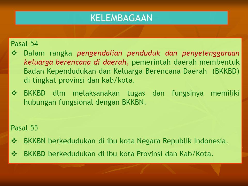 KELEMBAGAAN Pasal 54  Dalam rangka pengendalian penduduk dan penyelenggaraan keluarga berencana di daerah, pemerintah daerah membentuk Badan Kependud