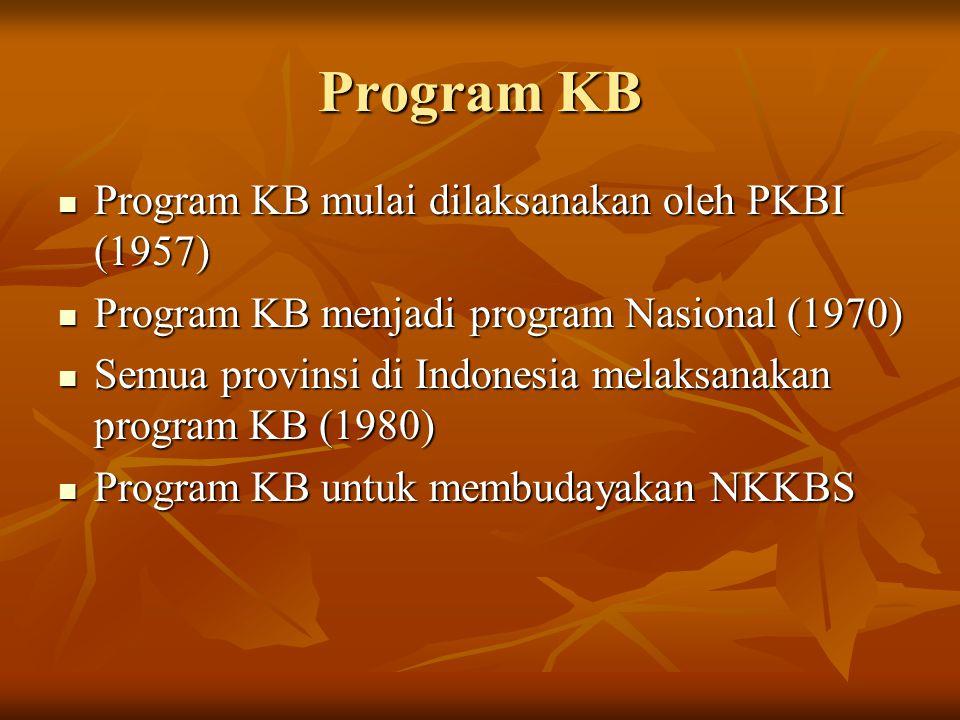 Program KB Program KB mulai dilaksanakan oleh PKBI (1957) Program KB mulai dilaksanakan oleh PKBI (1957) Program KB menjadi program Nasional (1970) Pr