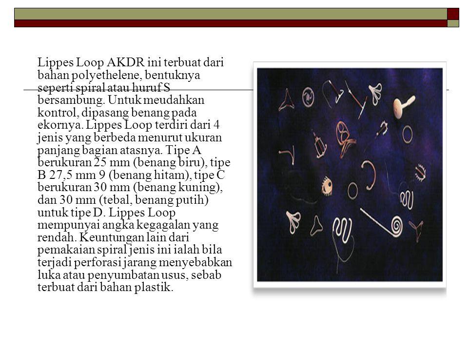 Lippes Loop AKDR ini terbuat dari bahan polyethelene, bentuknya seperti spiral atau huruf S bersambung. Untuk meudahkan kontrol, dipasang benang pada