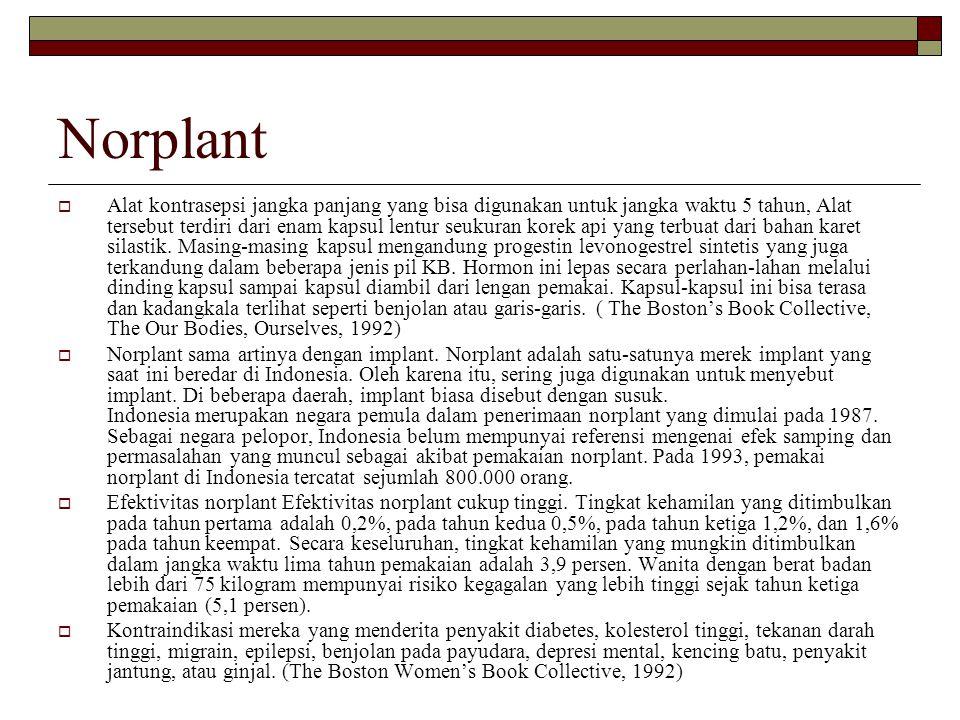 Norplant  Alat kontrasepsi jangka panjang yang bisa digunakan untuk jangka waktu 5 tahun, Alat tersebut terdiri dari enam kapsul lentur seukuran kore