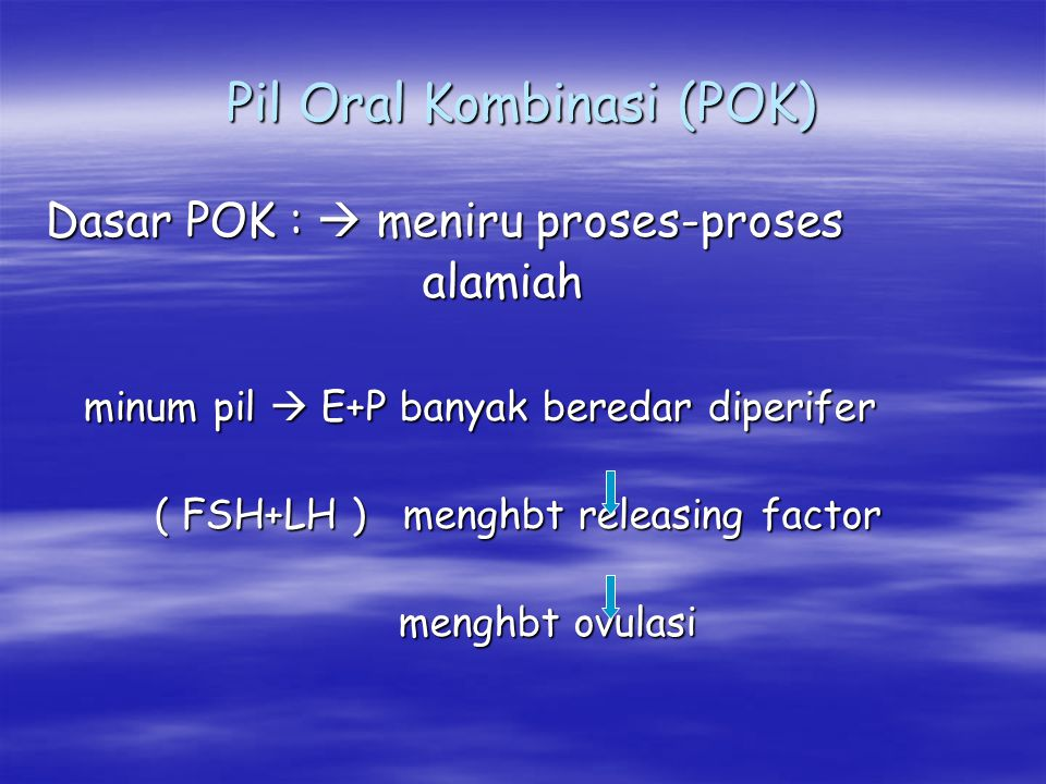 Pil Oral Kombinasi (POK) Dasar POK :  meniru proses-proses alamiah alamiah minum pil  E+P banyak beredar diperifer minum pil  E+P banyak beredar di