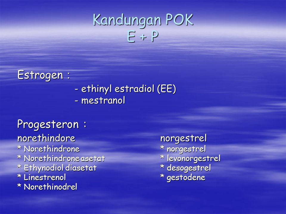 Kandungan POK E + P Estrogen : - ethinyl estradiol (EE) - mestranol Progesteron : norethindorenorgestrel * Norethindrone* norgestrel * Norethindrone a