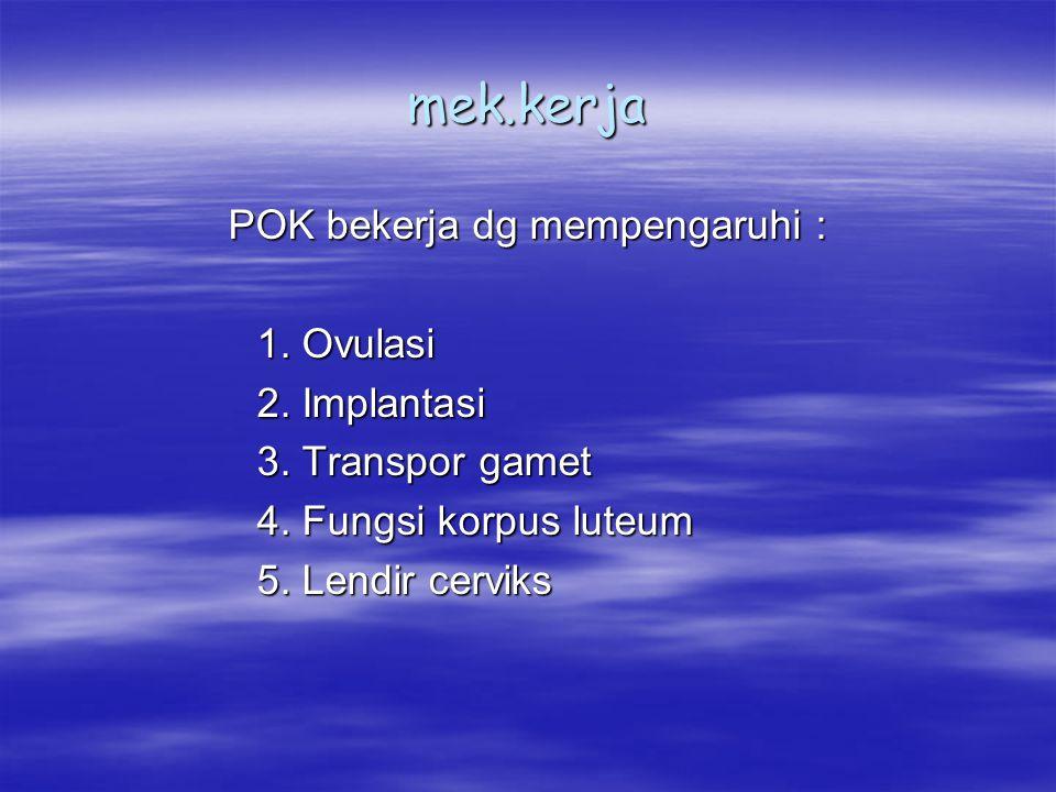 mek.kerja POK bekerja dg mempengaruhi : 1. Ovulasi 2. Implantasi 3. Transpor gamet 4. Fungsi korpus luteum 5. Lendir cerviks