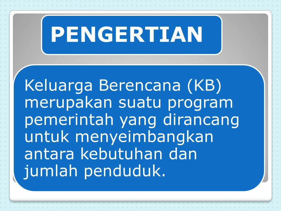 TUJUAN KB 1) Mencegah kehamilan karena alasan pribadi.