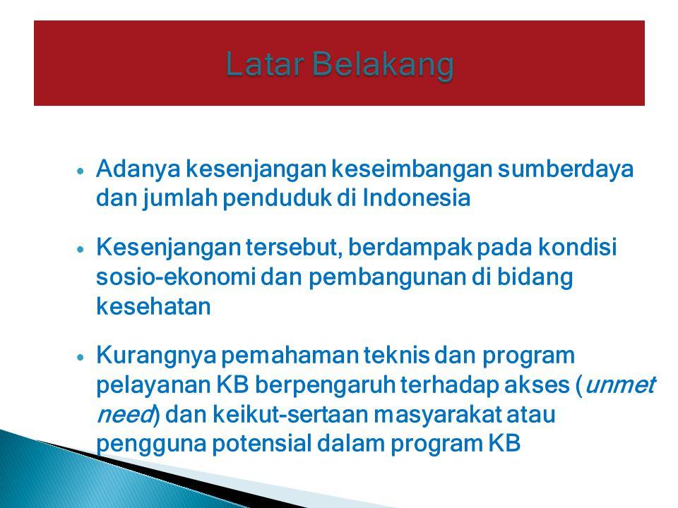 Adanya kesenjangan keseimbangan sumberdaya dan jumlah penduduk di Indonesia Kesenjangan tersebut, berdampak pada kondisi sosio-ekonomi dan pembangunan