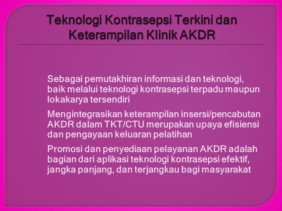 Program JNPK-KR dan Lokakarya Teknologi Kontrasepsi Terkini Memperkuat jalinan kerjasama antar komponen JNPK-KR, baik di level Nasional, Regional, Provinsi dan Kabupaten Memperbaiki kapasitas pelatihan di level P2KP untuk menghasilkan petugas pelaksana yang kompeten, menggunakan baku klinik yang disyaratkan Berperan serta dalam pembangunan kesehatan dan perbaikan kualitas penduduk di Indonesia melalui intervensi promotif dan preventif dengan stakeholder terkait