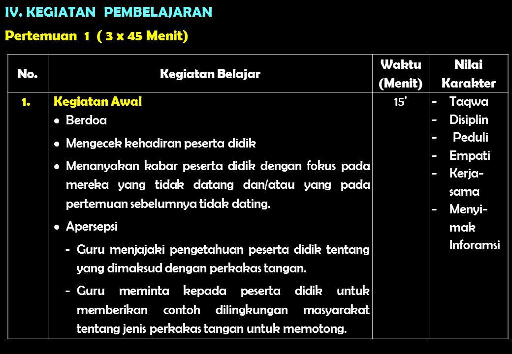 IV. KEGIATAN PEMBELAJARAN Pertemuan 1 ( 3 x 45 Menit) No. Kegiatan Belajar Waktu (Menit) Nilai Karakter 1.Kegiatan Awal  Berdoa  Mengecek kehadiran