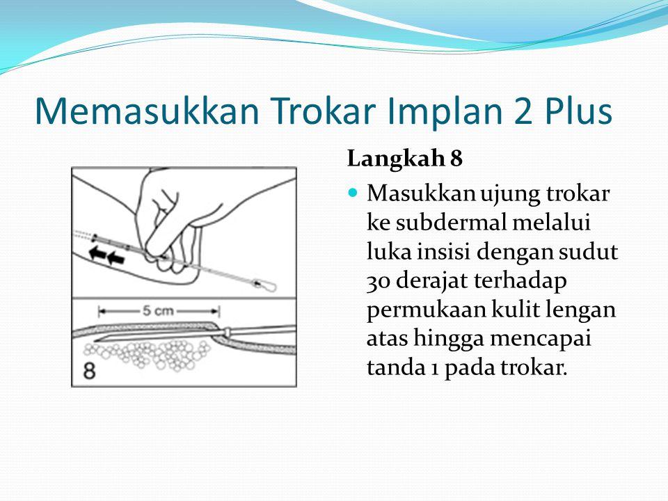 Memasukkan Trokar Implan 2 Plus Langkah 8 Masukkan ujung trokar ke subdermal melalui luka insisi dengan sudut 30 derajat terhadap permukaan kulit leng