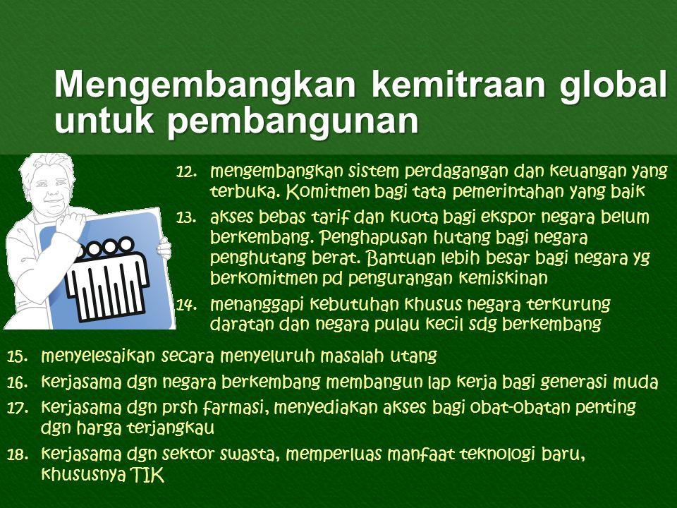 Mengembangkan kemitraan global untuk pembangunan 12.mengembangkan sistem perdagangan dan keuangan yang terbuka.