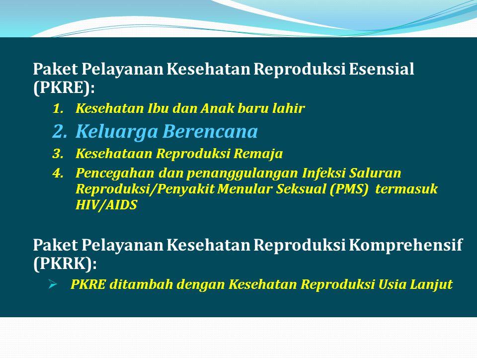 Paket Pelayanan Kesehatan Reproduksi Esensial (PKRE): 1.Kesehatan Ibu dan Anak baru lahir 2.Keluarga Berencana 3.Kesehataan Reproduksi Remaja 4.Penceg