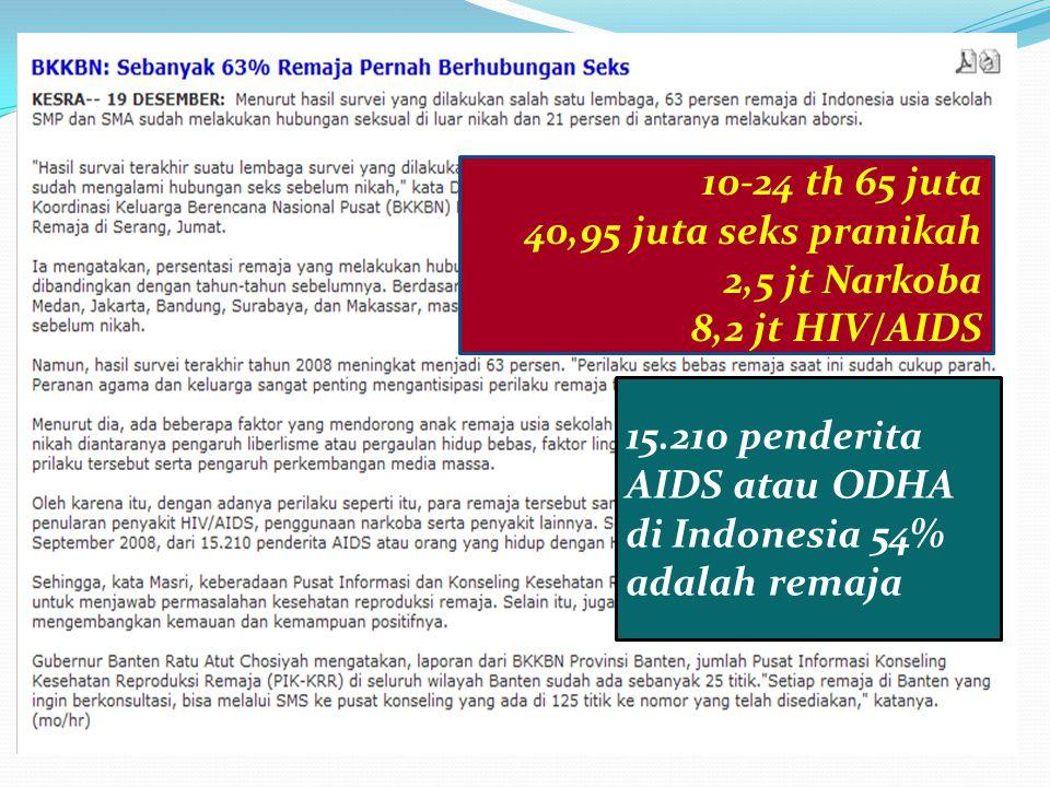 10-24 th 65 juta 40,95 juta seks pranikah 2,5 jt Narkoba 8,2 jt HIV/AIDS 15.210 penderita AIDS atau ODHA di Indonesia 54% adalah remaja