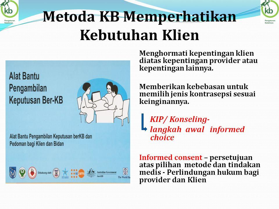 Metoda KB Memperhatikan Kebutuhan Klien Menghormati kepentingan klien diatas kepentingan provider atau kepentingan lainnya. Memberikan kebebasan untuk