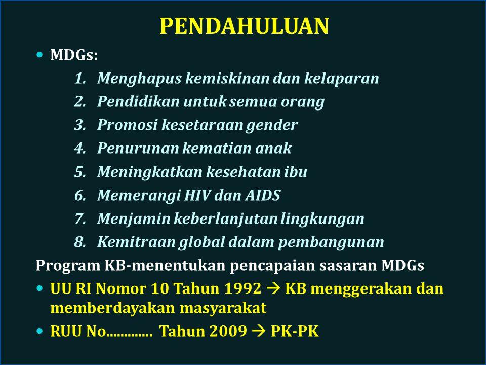 Sasaran RPJMN 2010-2014 1.Berkenaan dengan pengendalian penduduk melalui Pembangunan KB: a.