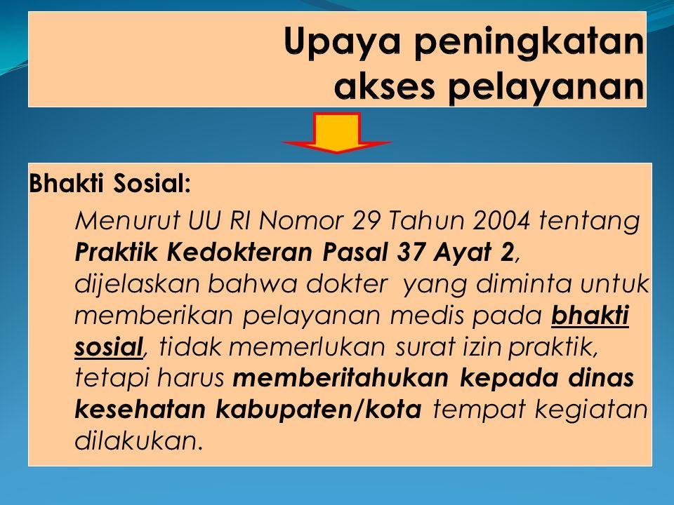 Bhakti Sosial: Menurut UU RI Nomor 29 Tahun 2004 tentang Praktik Kedokteran Pasal 37 Ayat 2, dijelaskan bahwa dokter yang diminta untuk memberikan pel