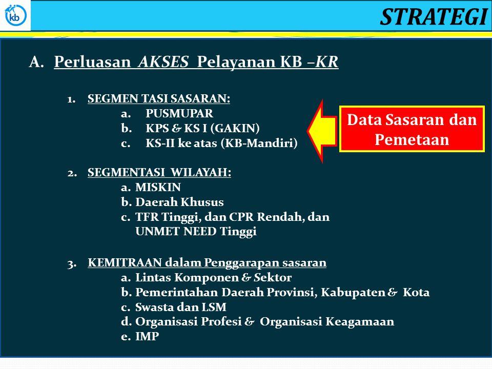 STRATEGI A.Perluasan AKSES Pelayanan KB –KR 1.SEGMEN TASI SASARAN: a.PUSMUPAR b.KPS & KS I (GAKIN) c.KS-II ke atas (KB-Mandiri) 2.SEGMENTASI WILAYAH: