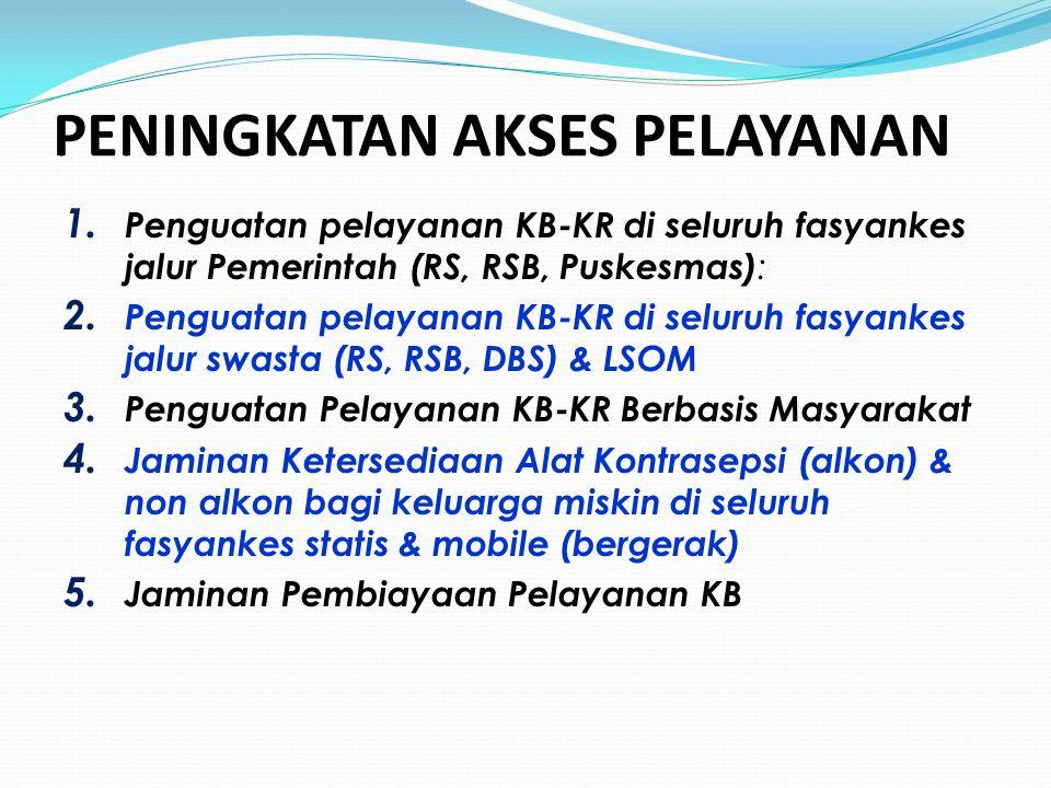 PENINGKATAN AKSES PELAYANAN 1. Penguatan pelayanan KB-KR di seluruh fasyankes jalur Pemerintah (RS, RSB, Puskesmas) : 2. Penguatan pelayanan KB-KR di