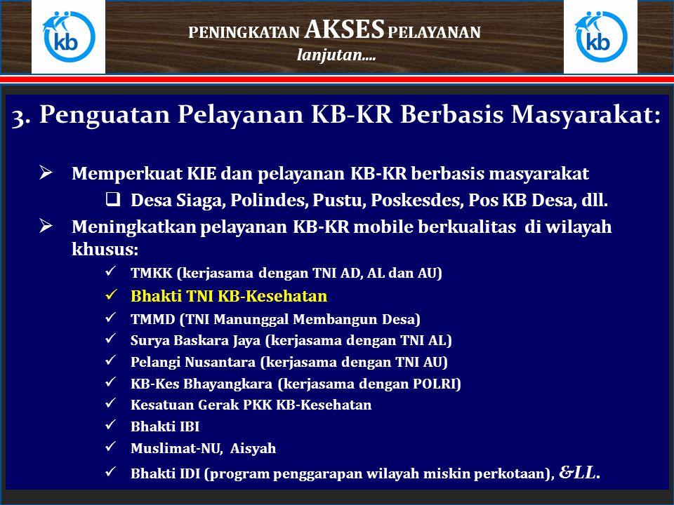3.Penguatan Pelayanan KB-KR Berbasis Masyarakat:  Memperkuat KIE dan pelayanan KB-KR berbasis masyarakat  Desa Siaga, Polindes, Pustu, Poskesdes, Po