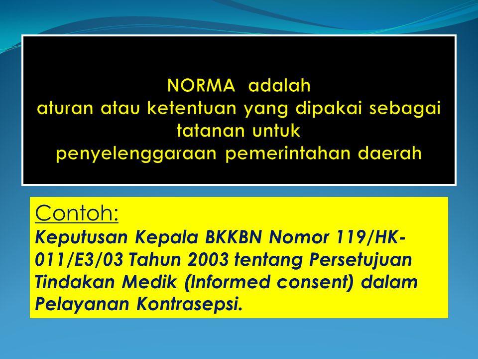Contoh: Keputusan Kepala BKKBN Nomor 119/HK- 011/E3/03 Tahun 2003 tentang Persetujuan Tindakan Medik (Informed consent) dalam Pelayanan Kontrasepsi.