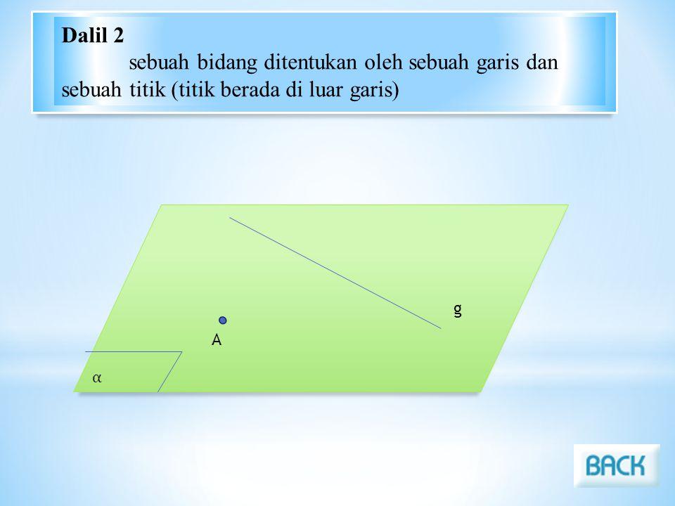 α g A Dalil 2 sebuah bidang ditentukan oleh sebuah garis dan sebuah titik (titik berada di luar garis)