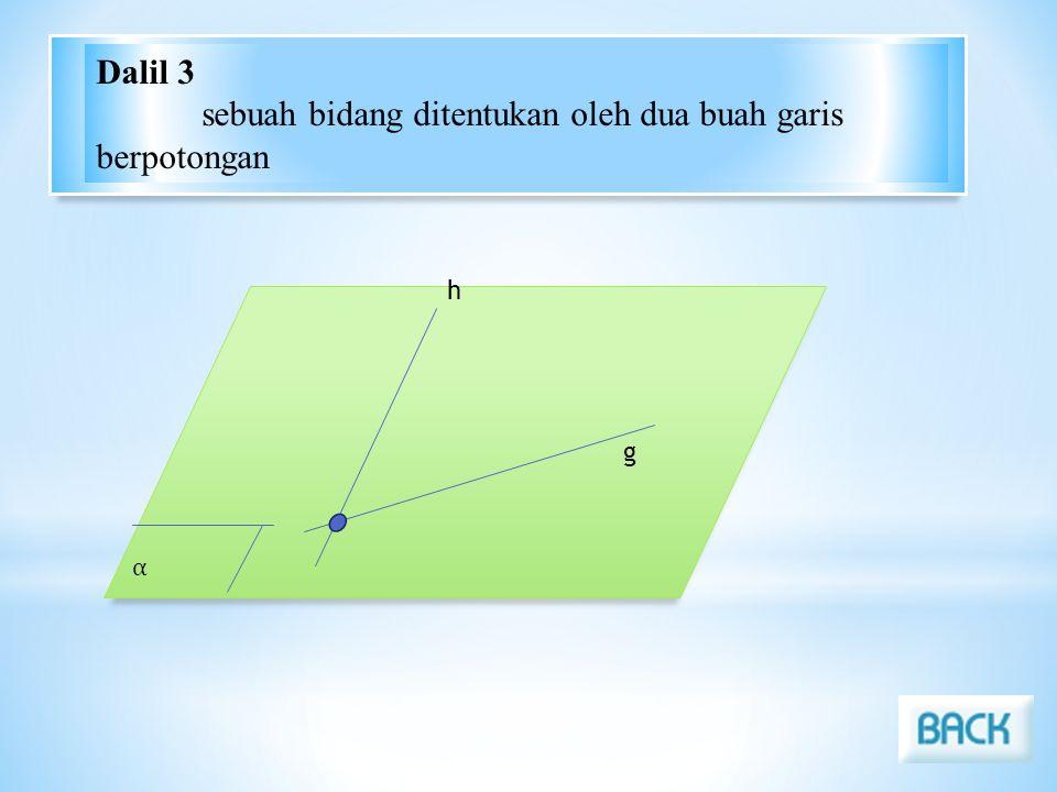 α h g Dalil 3 sebuah bidang ditentukan oleh dua buah garis berpotongan