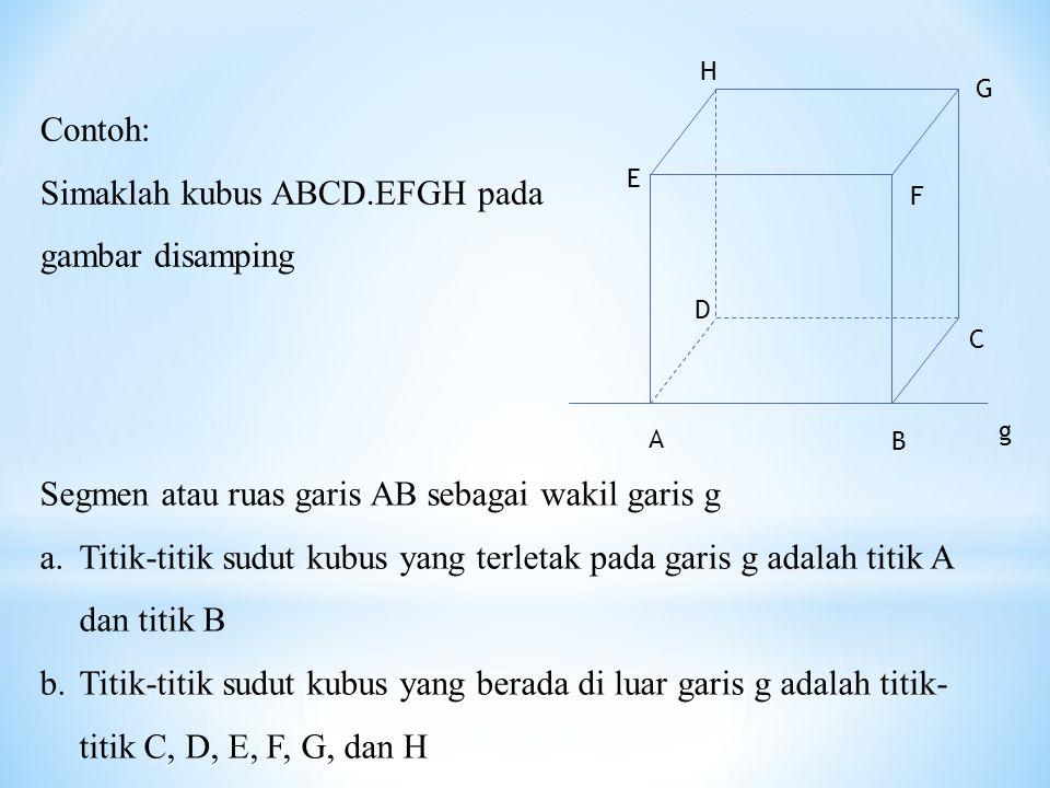 g Segmen atau ruas garis AB sebagai wakil garis g a.Titik-titik sudut kubus yang terletak pada garis g adalah titik A dan titik B b.Titik-titik sudut kubus yang berada di luar garis g adalah titik- titik C, D, E, F, G, dan H Contoh: Simaklah kubus ABCD.EFGH pada gambar disamping A H G F E D C B